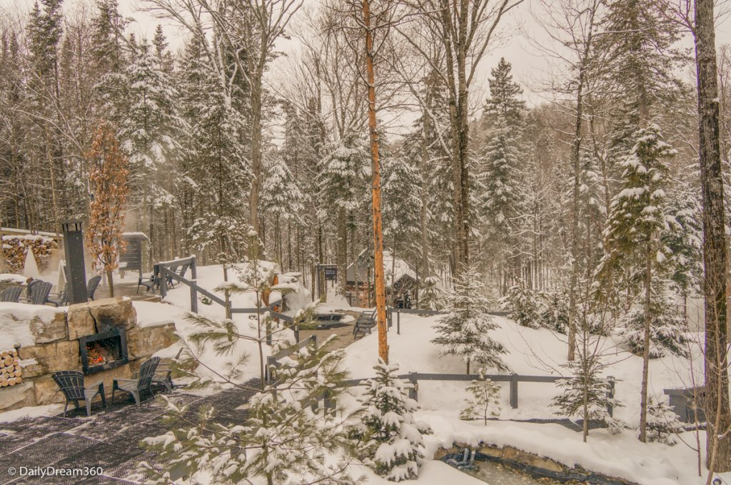 Winter scenery at Siberia Station Spa Quebec City