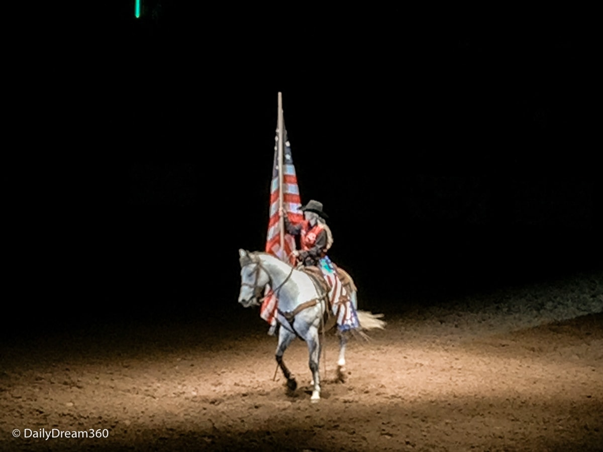 American Flag presented at Stockyards Rodeo Fort Worth