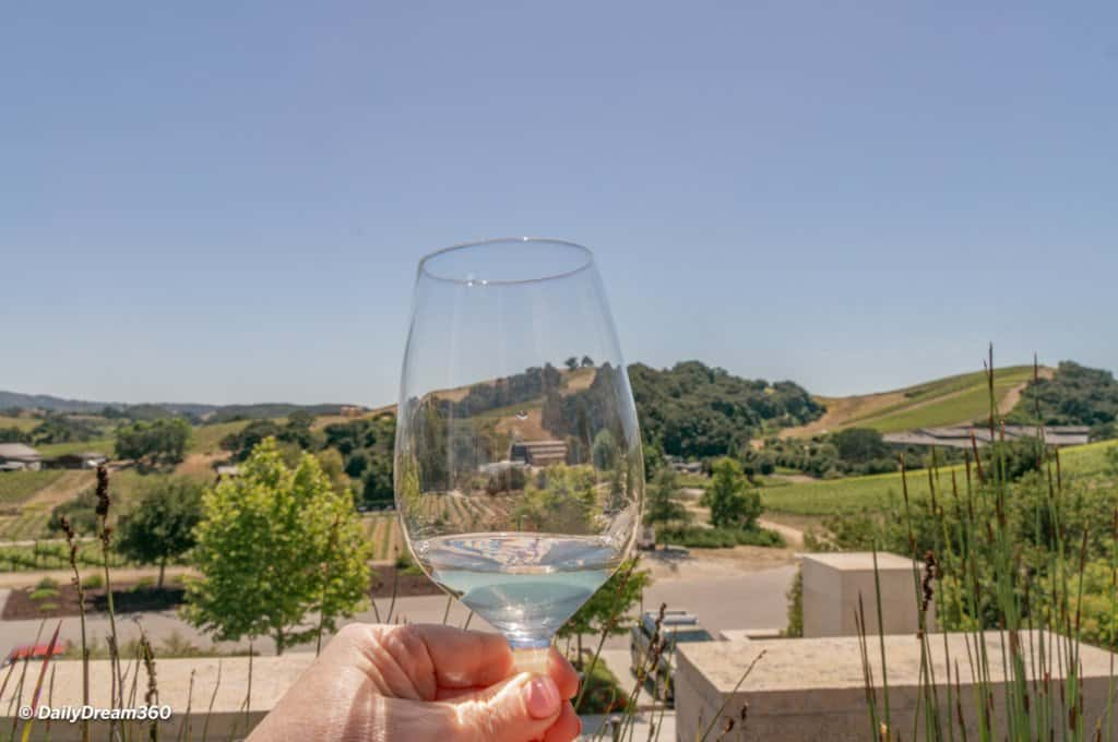 Wine glass overlooking vineyard in Paso Robles California