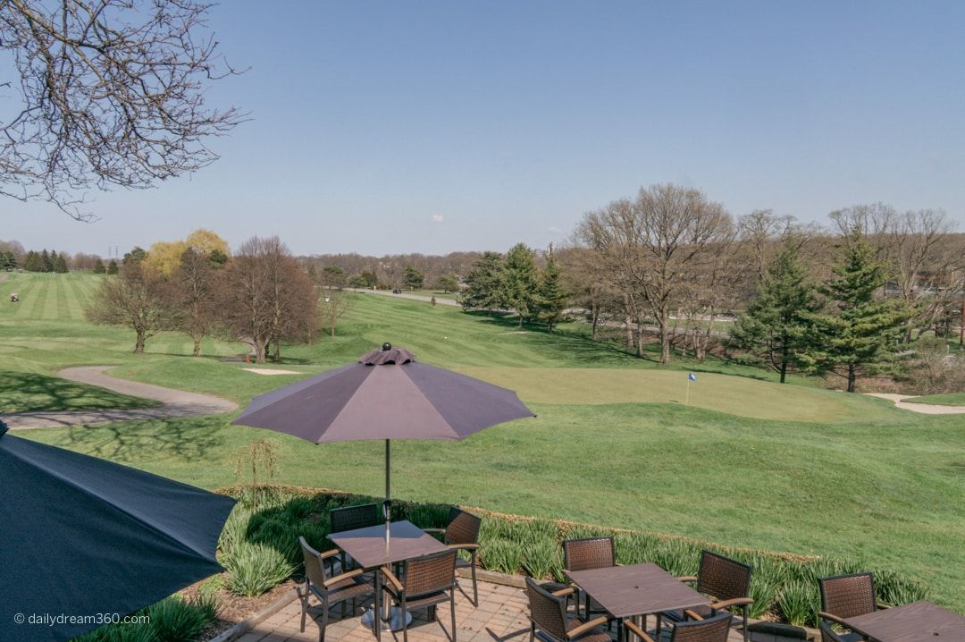 Patio seating overlooking golf course at Whirlpool Restaurant Niagara Falls ON