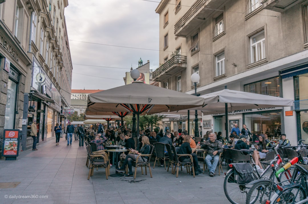 Bar tents and eateries in the middle of pedestrian roads in downtown zagreb