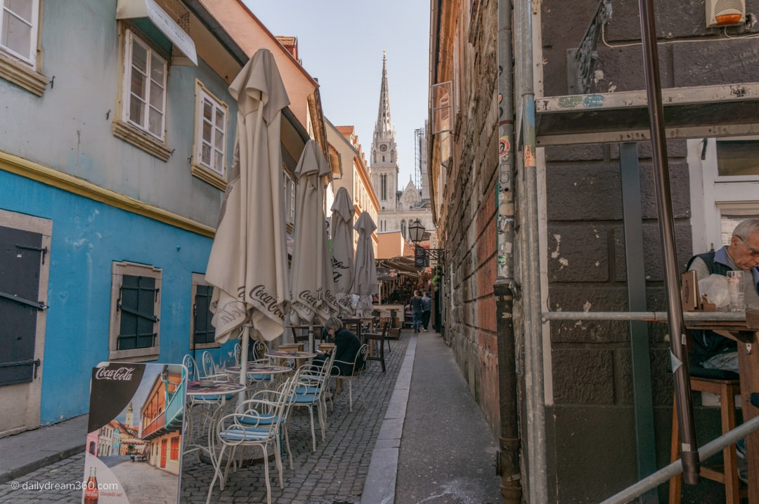 Narrow alley lead to market and Cathedral in Zagreb