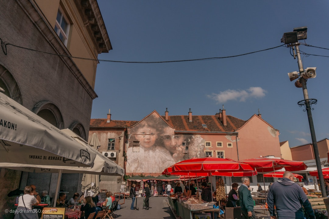 Famous building painting above the Dolac Market in Zagreb Croatia