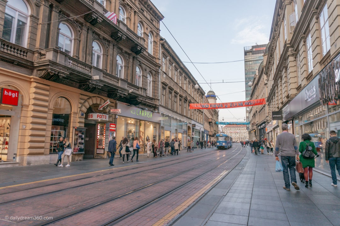 downtown Zagreb street lined with shops