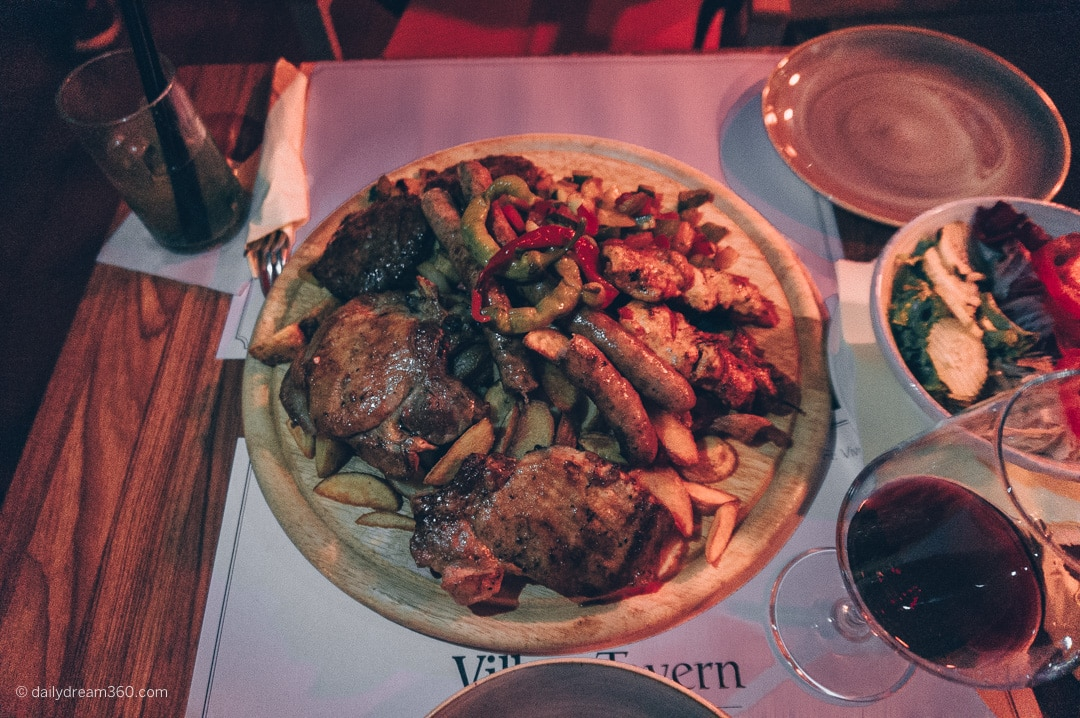 Meat and vegetable sharing platter at Village Restaurant Croatia