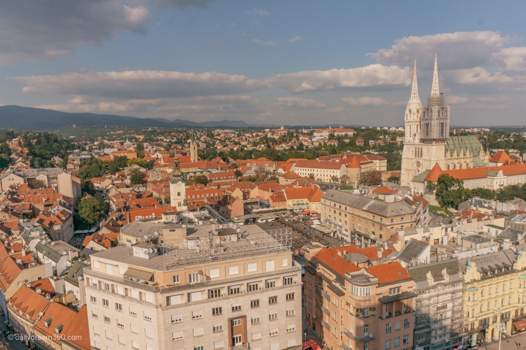 View of Zagreb Croatia from Zagreb 360 Observation Tower