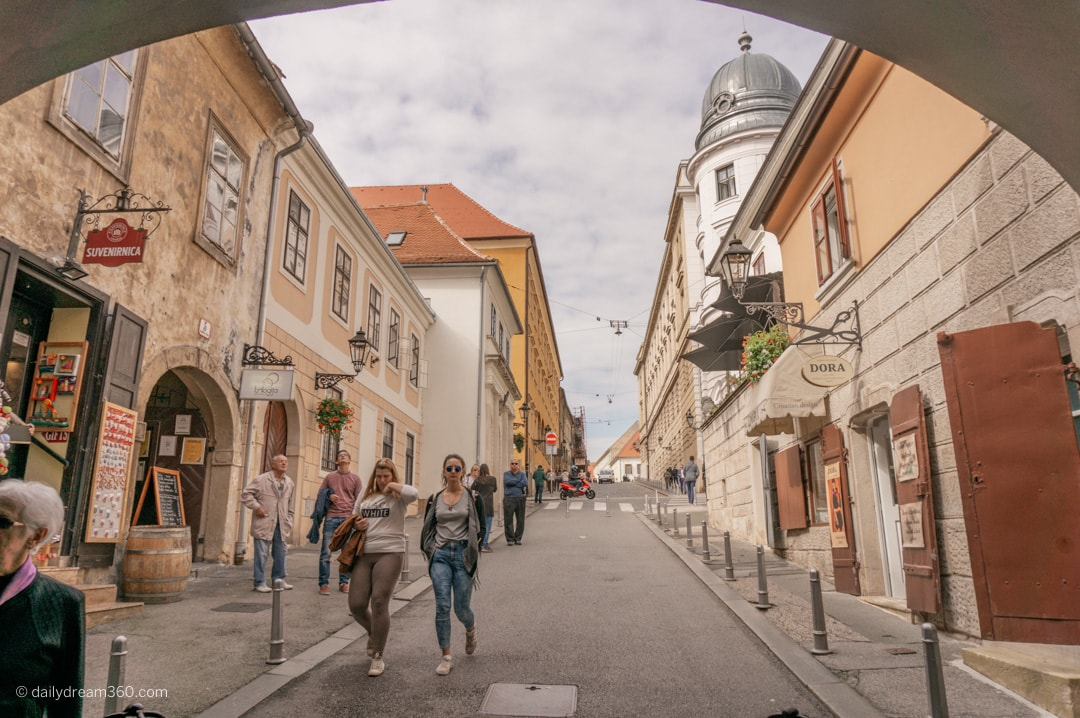 Pedestrian street lined with historic buildings in Zagreb's upper town