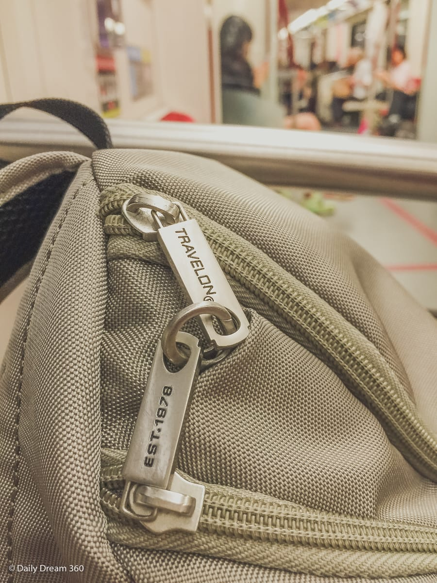 locked zipper feature on Travelon Bag
